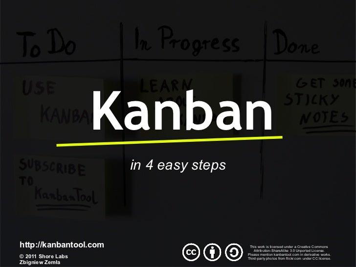 Kanban                        in 4 easy stepshttp://kanbantool.com                      This work is licensed under a Crea...