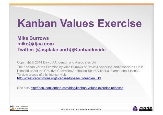 Kanban Values Exercise  Mike Burrows  mike@djaa.com  Twitter: @asplake and @KanbanInside  Copyright © 2014 David J Anderso...