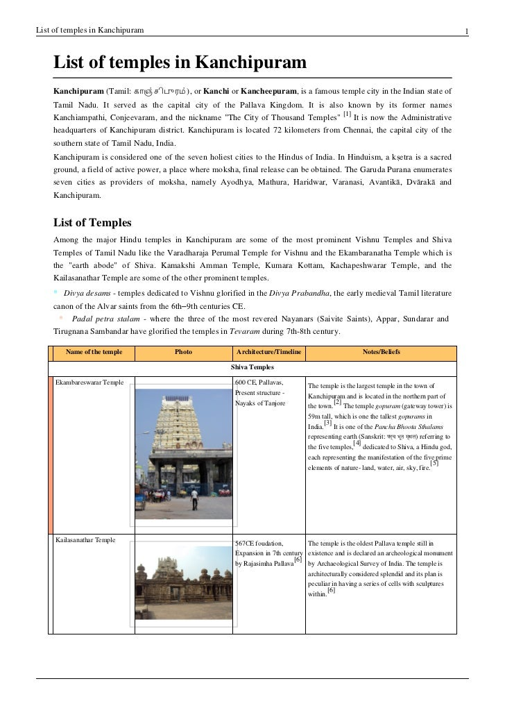 List of temples in Kanchipuram                                                                                            ...