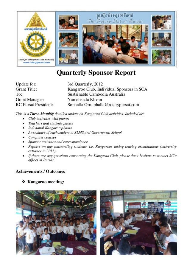 Quarterly Sponsor ReportUpdate for:                     3rd Quarterly, 2012Grant Title:                    Kangaroo Club, ...