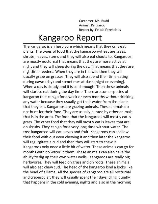 Kangaroo report for ms. budd