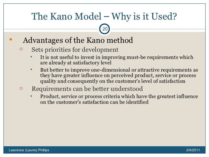 kano model advantages Kano modeling in product development  kano's model customer  there are several advantages to classify consumer requirements into kano modeling .