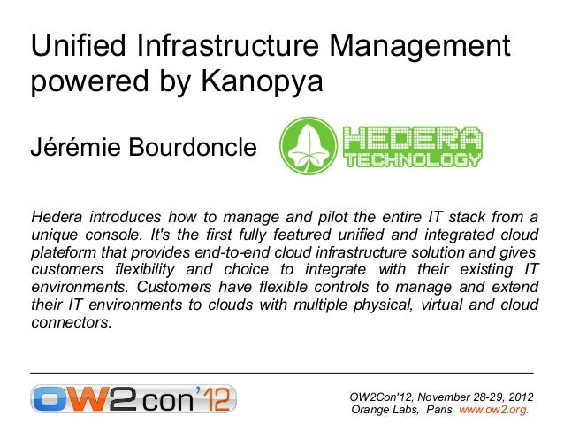 Unified Infrastructure Management powered by Kanopya, OW2con'12, Paris