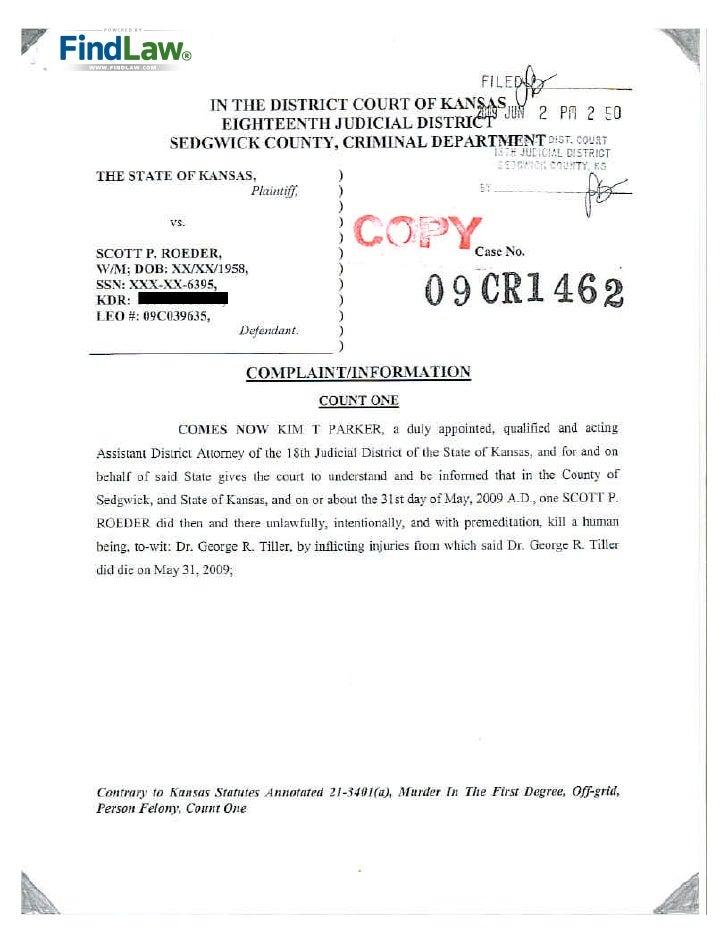 FindLaw | Kansas Murder Charges Against Scott Roeder