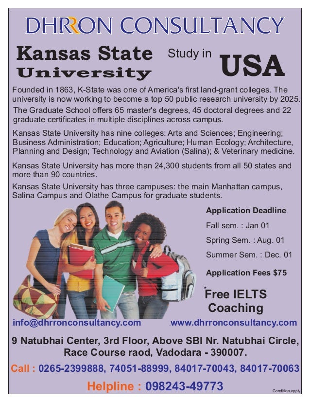 Kansas State  Study in  University  USA  Founded in 1863, K-State was one of America's first land-grant colleges. The univ...