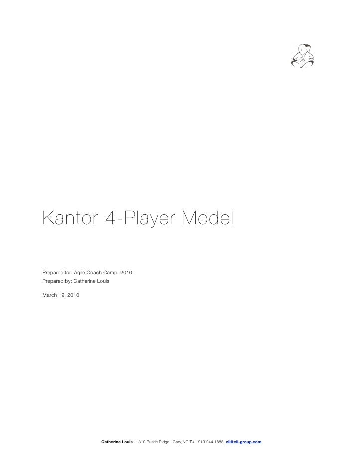 Kantor 4-Player Model  Prepared for: Agile Coach Camp 2010 Prepared by: Catherine Louis  March 19, 2010                   ...