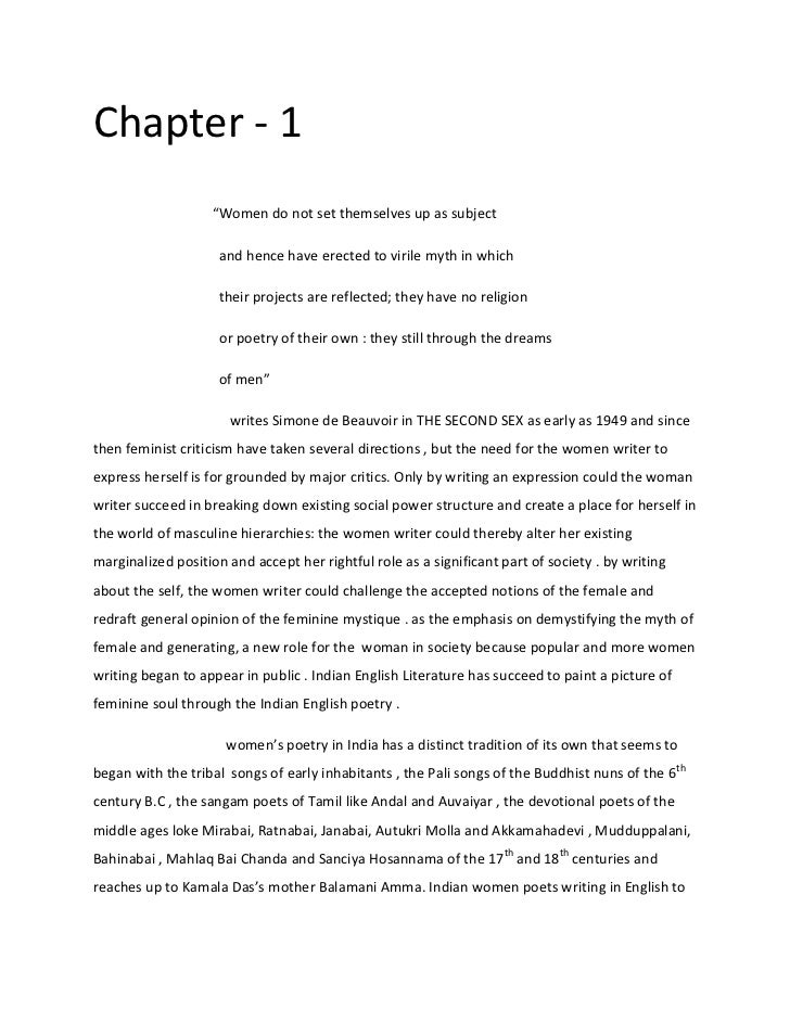 """Chapter - 1                   """"Women do not set themselves up as subject                     and hence have erected to vir..."""