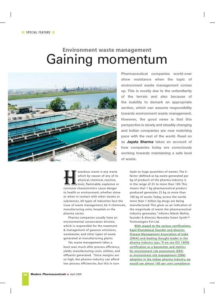 S P E CI AL F E ATU RE                               Environment waste management                    Gaining momentum     ...