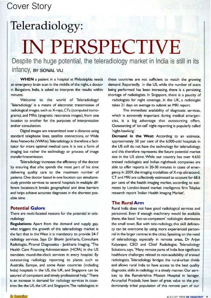 Cover Story  Teleradiology:         I                  PE SPECT VE  Despite the huge potential the teleradiology market in...