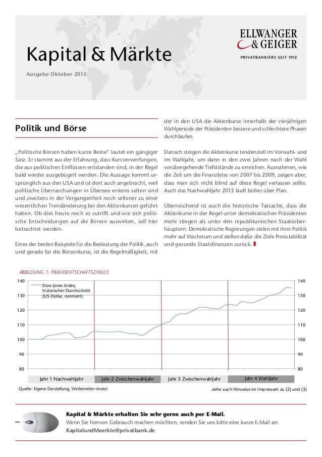 MF 1  Kapital&Märkte Ausgabe Oktober 2013  der in den USA die Aktienkurse innerhalb der vierjährigen Wahlperiode der Prä...