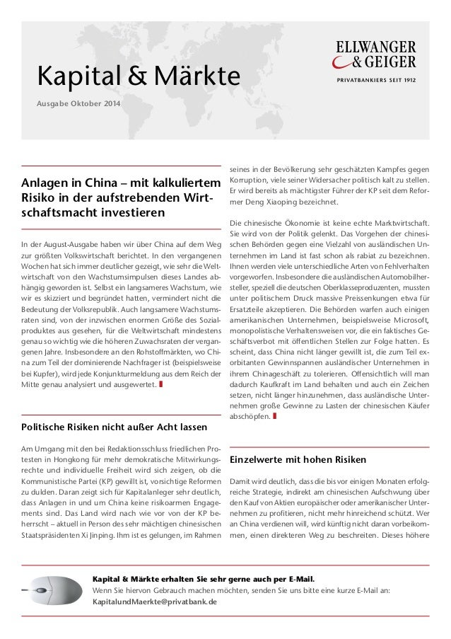 Anlagen in China – mit kalkuliertem  Risiko in der aufstrebenden Wirt-schaftsmacht  investieren  In der August-Ausgabe hab...