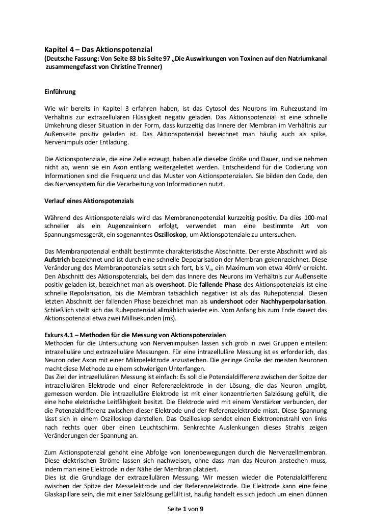"""Kapitel 4 – Das Aktionspotenzial(Deutsche Fassung: Von Seite 83 bis Seite 97 """"Die Auswirkungen von Toxinen auf den Natrium..."""