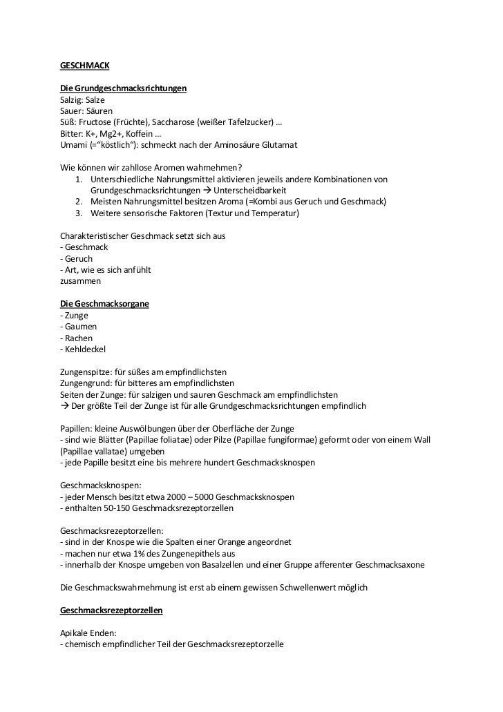 GESCHMACKDie GrundgeschmacksrichtungenSalzig: SalzeSauer: SäurenSüß: Fructose (Früchte), Saccharose (weißer Tafelzucker) …...