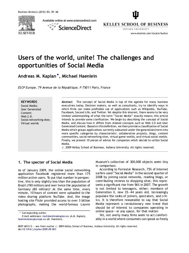 Kaplan and haenlein 2010 Users of the world, unite! The challenges and opportunities of social media