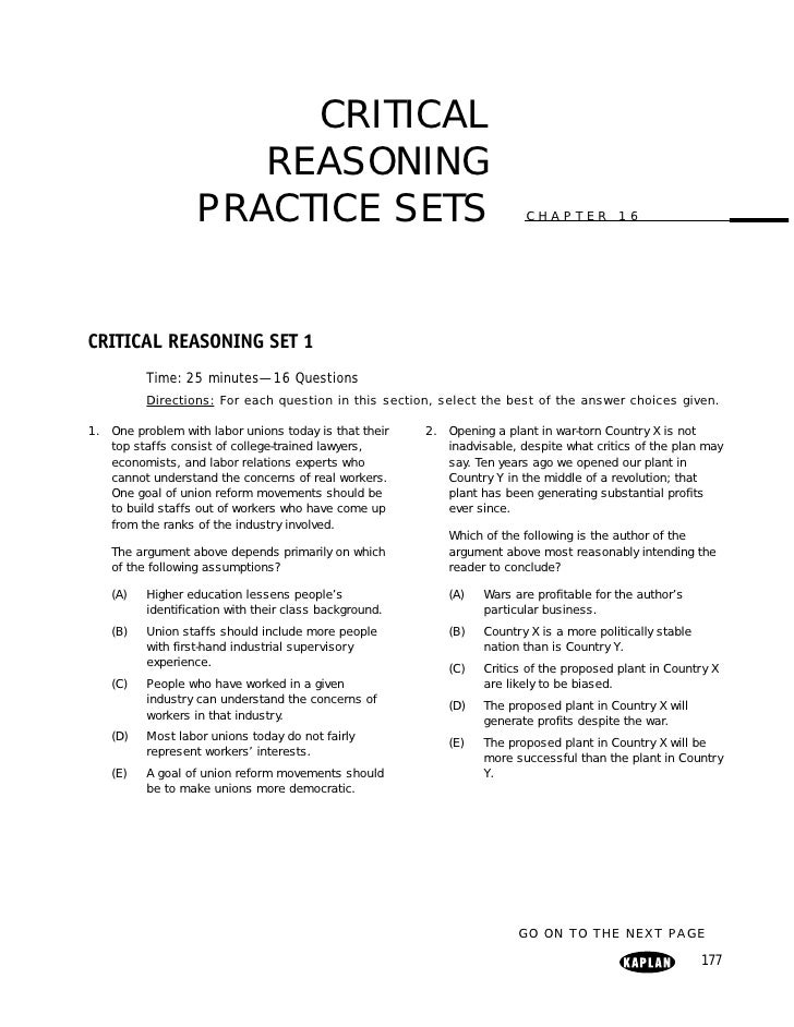 CRITICAL                      REASONING                   PRACTICE SETS                                         CHAPTER 16...
