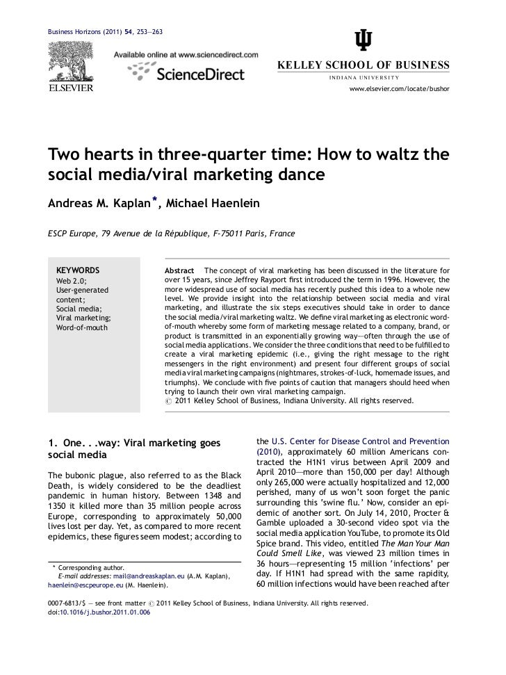 Kaplan & Haenlein - Two hearts in three-quarter time - how to waltz the social media viral marketing dance