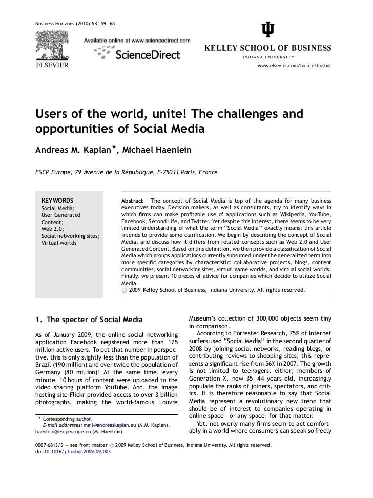 Kaplan & Haenlein - Users of the world, unite - the challenges and opportunities of social media