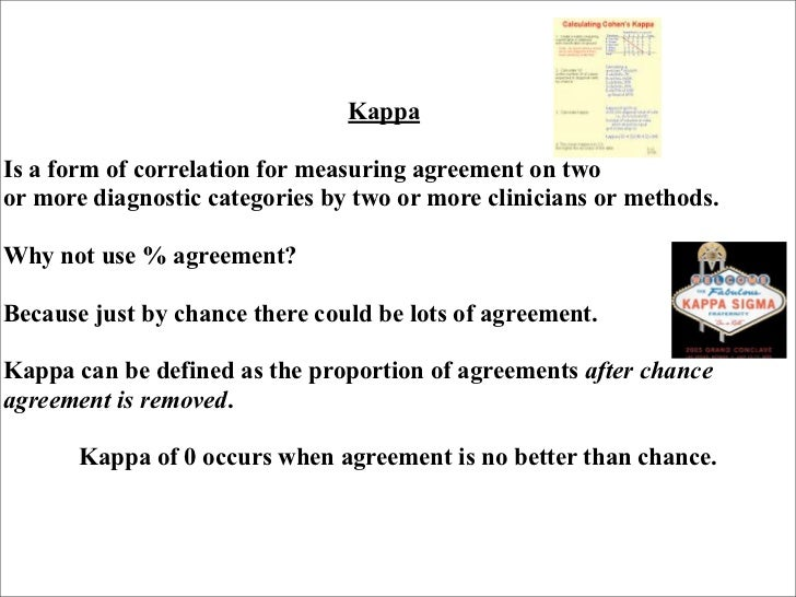 KappaIs a form of correlation for measuring agreement on twoor more diagnostic categories by two or more clinicians or met...