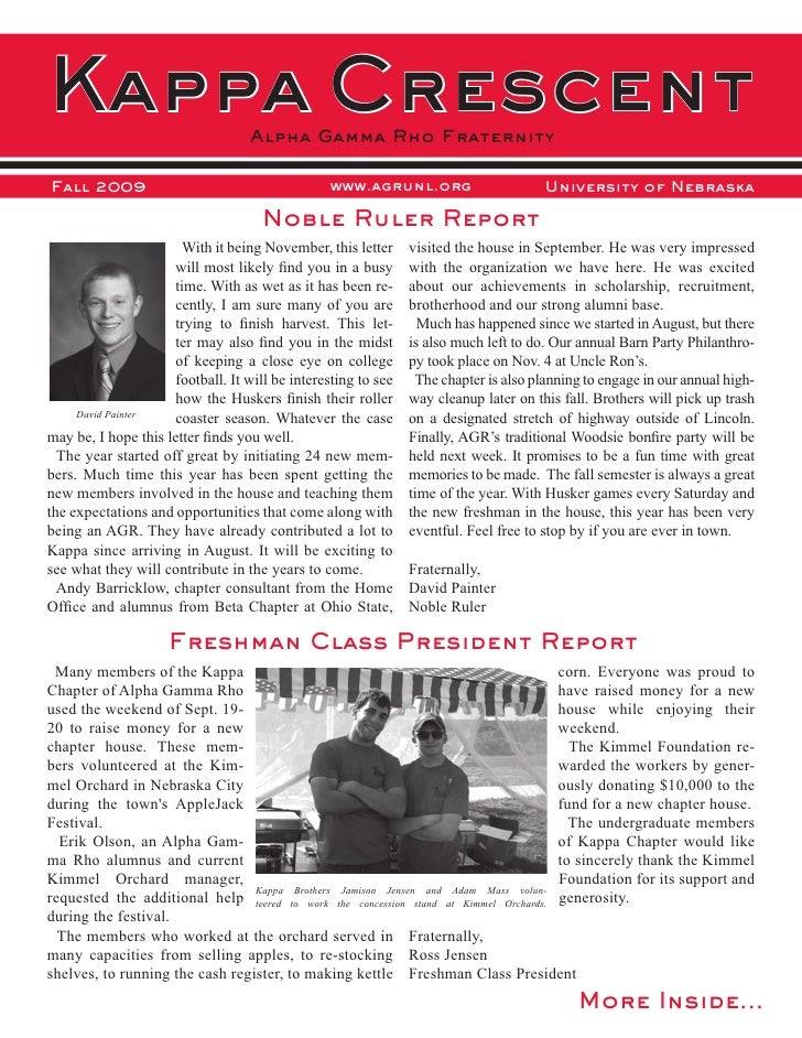 Kappa Crescent                     Alpha Gamma Rho Fraternity  Fall 2009                                        www.agrunl...
