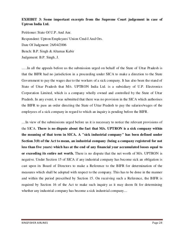 a report on kingfisher airlines essay The kingfisher story in terms of numbers and accounts  february 16, 2012:  kingfisher airlines, reports a loss of rs44426 crore at the third quarter  http:// wwwcivilserviceindiacom/subject/essay/kingfisher-shobhithtml.