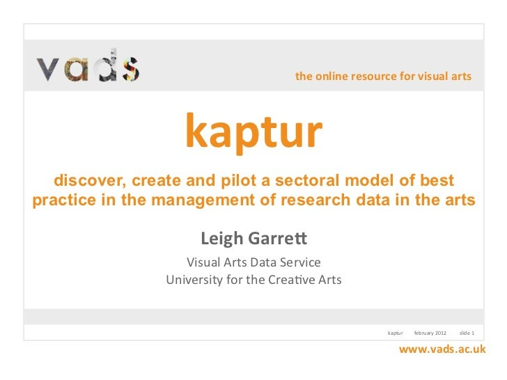 the online resource for visual arts                    kaptur  discover, create and pilot a sectoral model of bestpra...