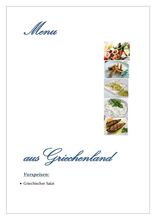 Menu  ausGriechenland Vorspeisen: Griechischer Salat