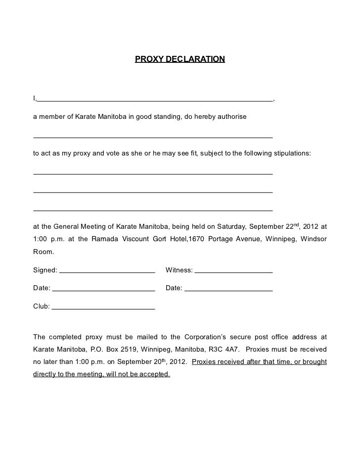 PROXY DECLARATIONI,                                                                             ,a member of Karate Manito...