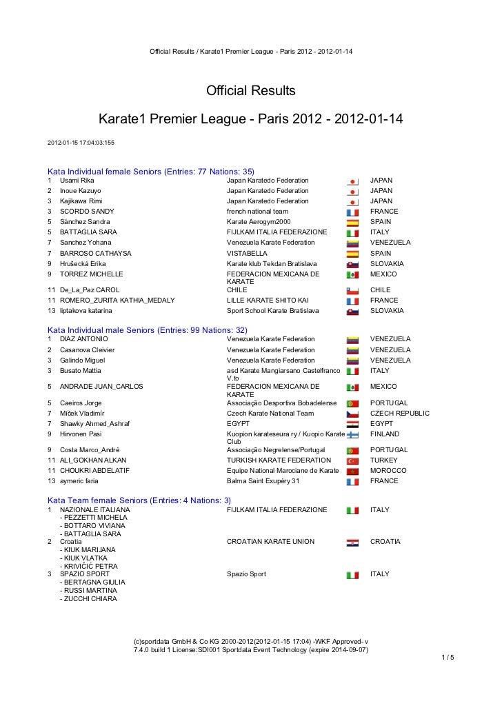 Official Results / Karate1 Premier League - Paris 2012 - 2012-01-14                                                     Of...
