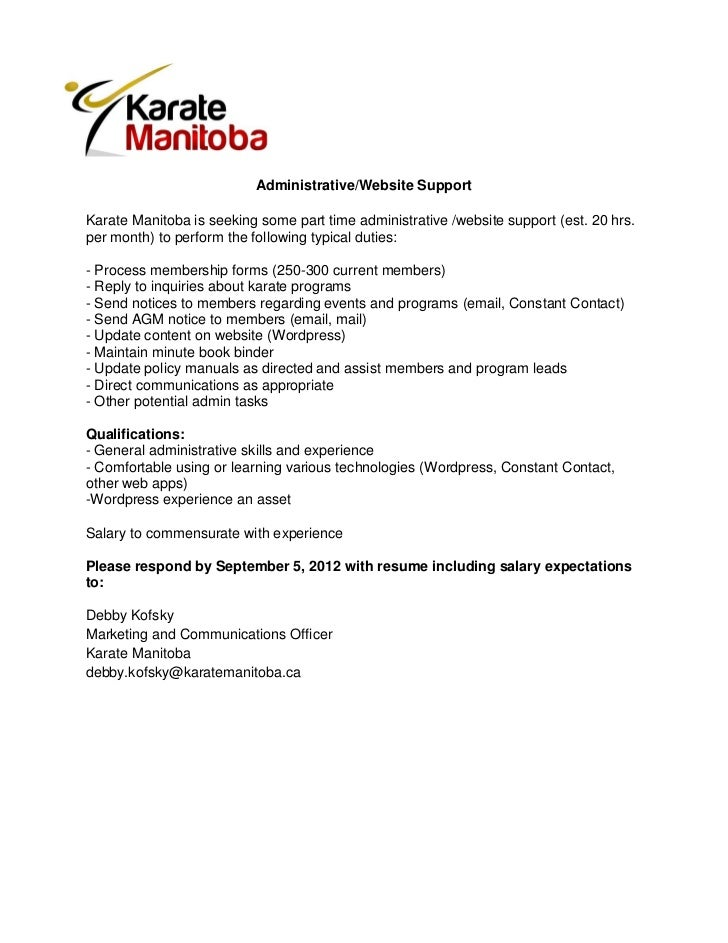Karate Manitoba Administrator/Web Support Close date: Sept 5, 2012