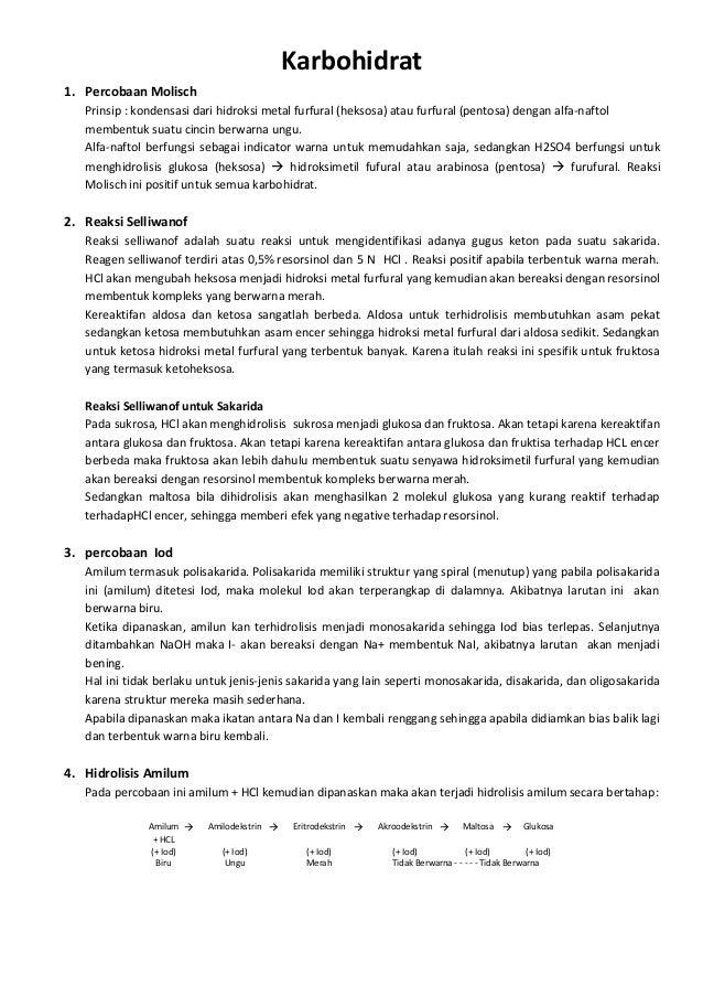 Karbohidrat1. Percobaan Molisch   Prinsip : kondensasi dari hidroksi metal furfural (heksosa) atau furfural (pentosa) deng...