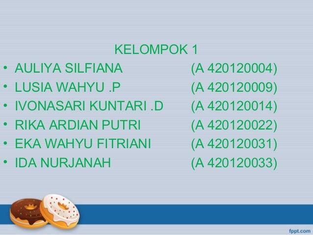 • • • • • •  KELOMPOK 1 AULIYA SILFIANA (A 420120004) LUSIA WAHYU .P (A 420120009) IVONASARI KUNTARI .D (A 420120014) RIKA...