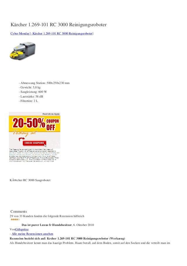 Kärcher 1.269-101 RC 3000 ReinigungsroboterCyber Monday!- Kärcher 1.269-101 RC 3000 Reinigungsroboter]      - Abmessung St...