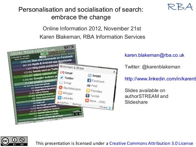 Personalisation and socialisation of search:           embrace the change         Online Information 2012, November 21st  ...