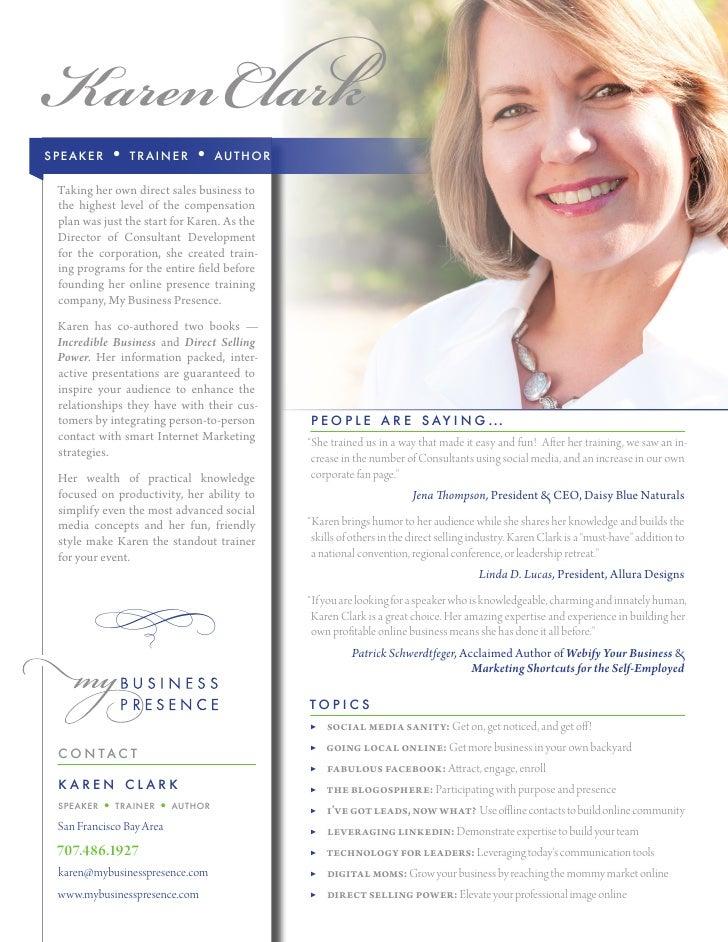 Karen Clark Social Media Speaker - One Sheet