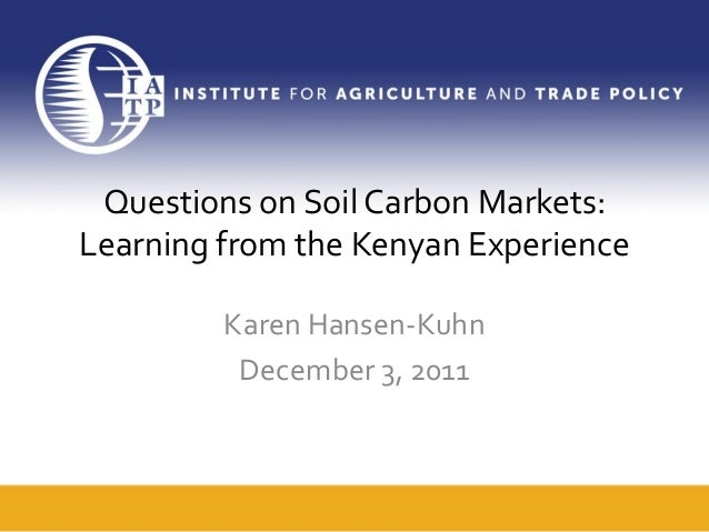 Questions on soil carbon markets learning from the kenyan for Soil questions