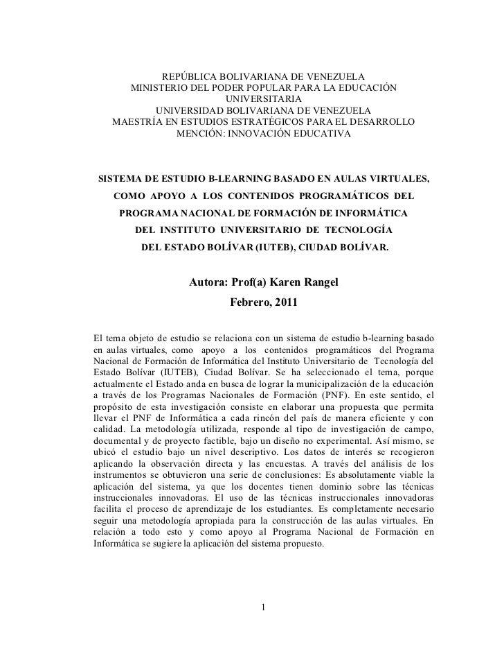 REPÚBLICA BOLIVARIANA DE VENEZUELA      MINISTERIO DEL PODER POPULAR PARA LA EDUCACIÓN                       UNIVERSITARIA...