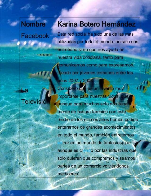 Nombre       Karina Botero Hernández             Esta red social ha sido una de las masFacebook             utilizadas por...
