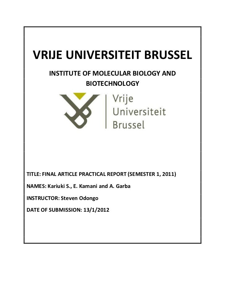 VRIJE UNIVERSITEIT BRUSSEL        INSTITUTE OF MOLECULAR BIOLOGY AND                   BIOTECHNOLOGYTITLE: FINAL ARTICLE P...