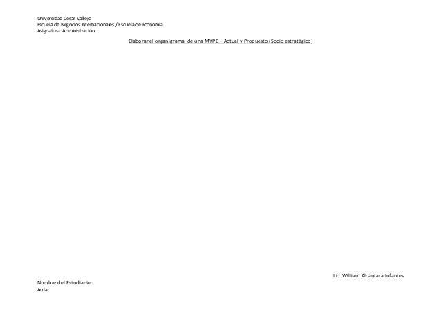Universidad Cesar Vallejo Escuela de Negocios Internacionales / Escuela de Economía Asignatura: Administración Lic. Willia...