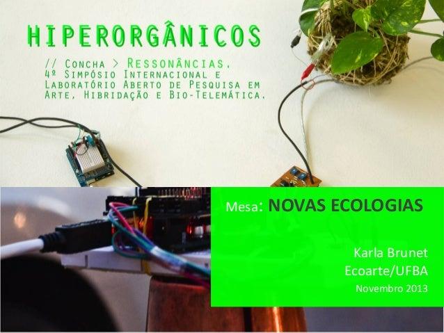Mesa:  NOVAS ECOLOGIAS Karla Brunet Ecoarte/UFBA Novembro 2013