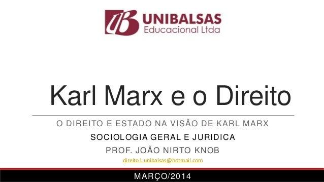 Karl Marx e o Direito O DIREITO E ESTADO NA VISÃO DE KARL MARX SOCIOLOGIA GERAL E JURIDICA PROF. JOÃO NIRTO KNOB MARÇO/201...
