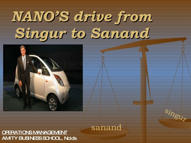 NANO'S drive from Singur to Sanand singur sanand OPERATIONS MANAGEMENT AMITY BUSINESS SCHOOL, Noida