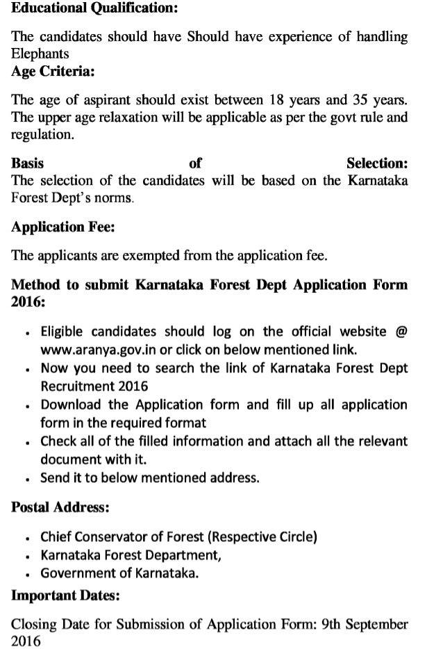 Karnataka forest dept govt jobs recruitment 2016 latest elephant kavadi vacancies exam result