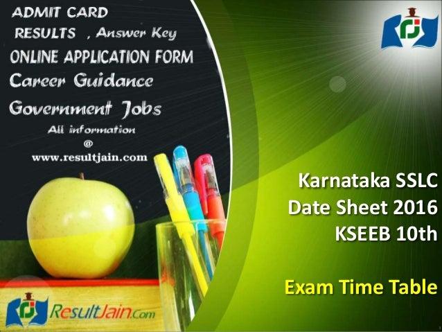Karnataka sslc date sheet 2016 kseeb 10th exam time table for 10th time table 2016