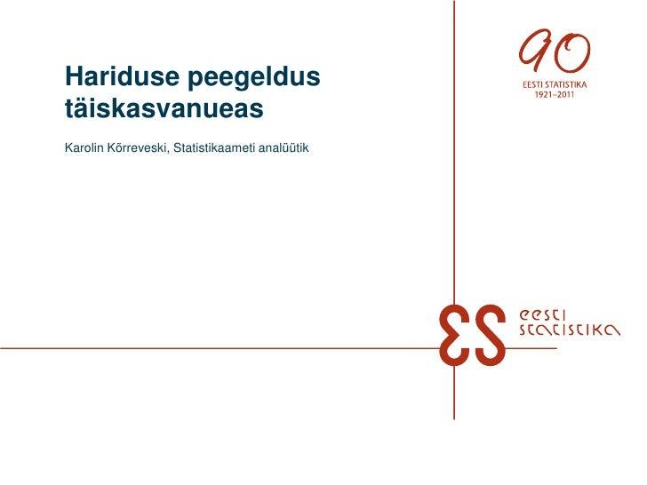 Hariduse peegeldustäiskasvanueasKarolin Kõrreveski, Statistikaameti analüütik