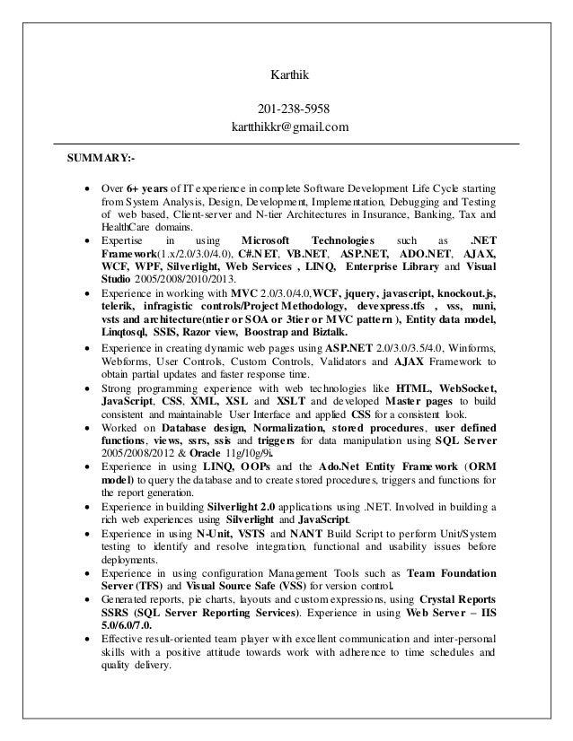 Asp net resume india