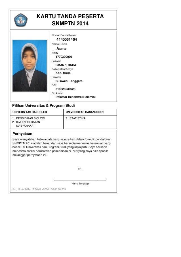 Kartu pendaftaran snmptn_2014_4140051404