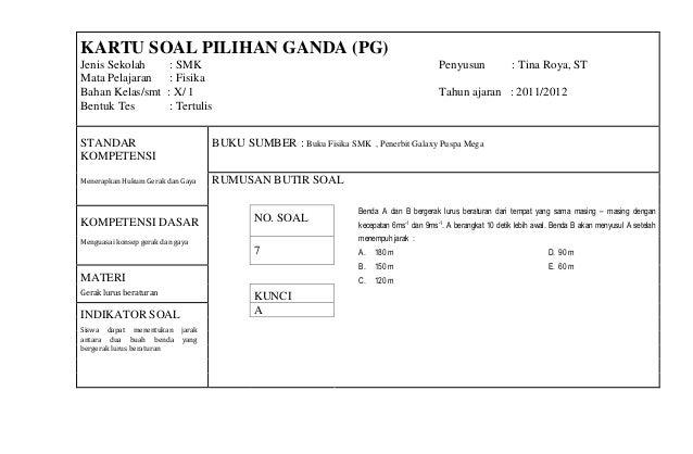Kartu Soal Fisika B 2011 2012