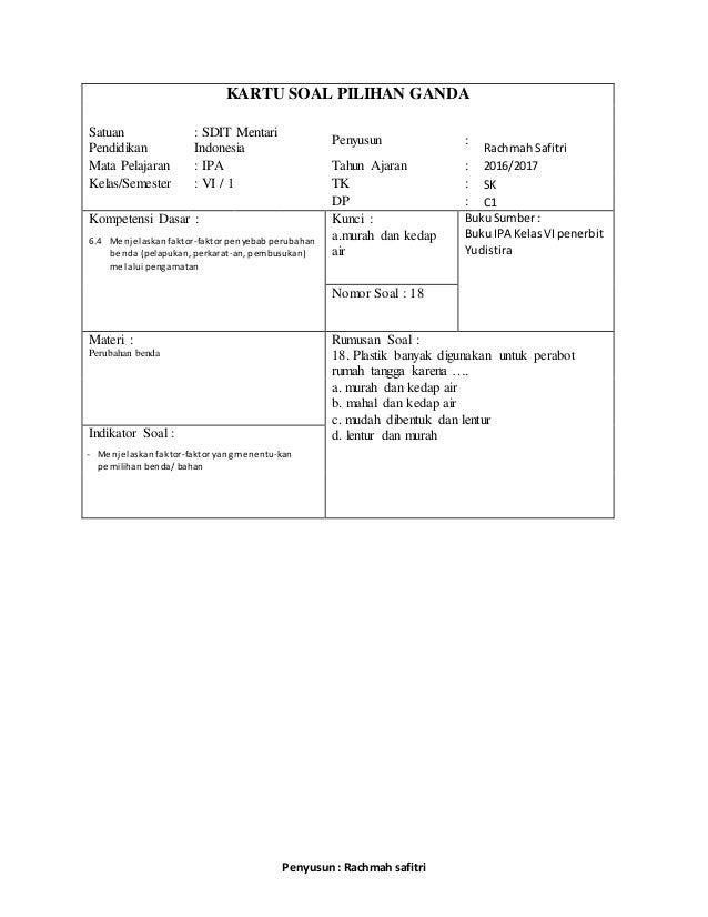 Soal Pelajaran Ipa Kelas Rumah Murah Di Download Lengkap