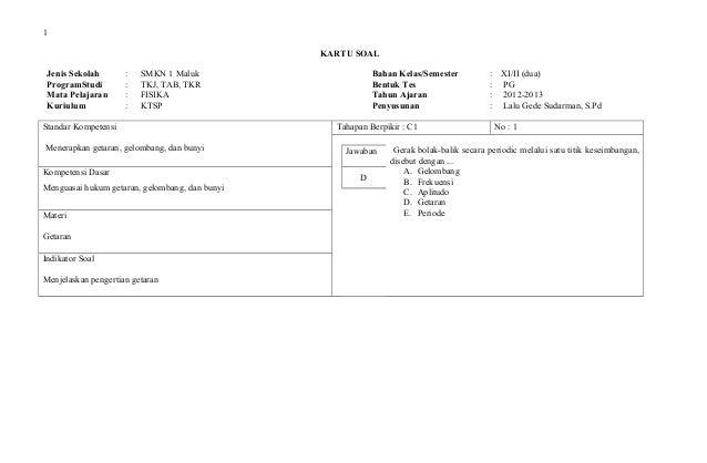 Kartu Soal Ulangan Fisika Kls Xi Semester Genap 2012 2013
